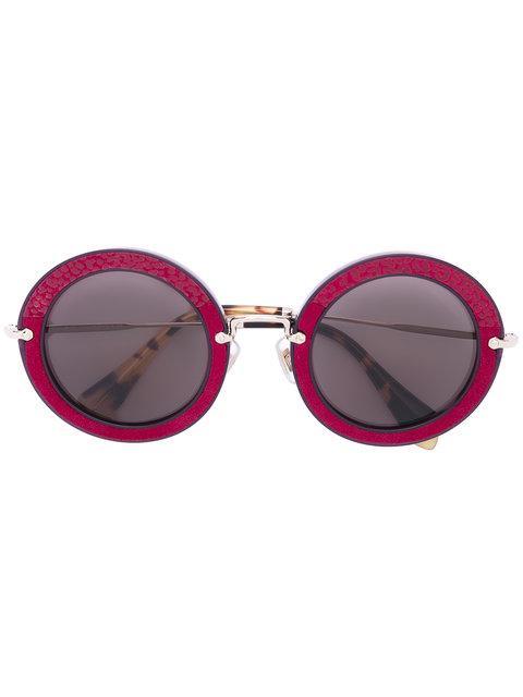 Miu Miu Eyewear Noir Round Sunglasses - Brown