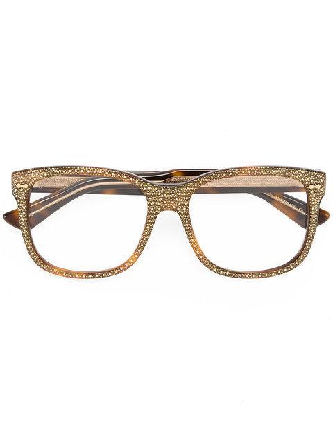 Gucci Square Frame Rhinestone Glasses In Brown