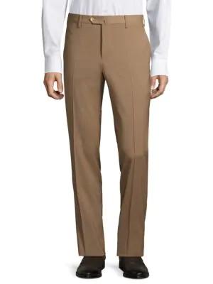 Pt01 Men's Traveler Flat Front Techno Wool Trousers In Khaki