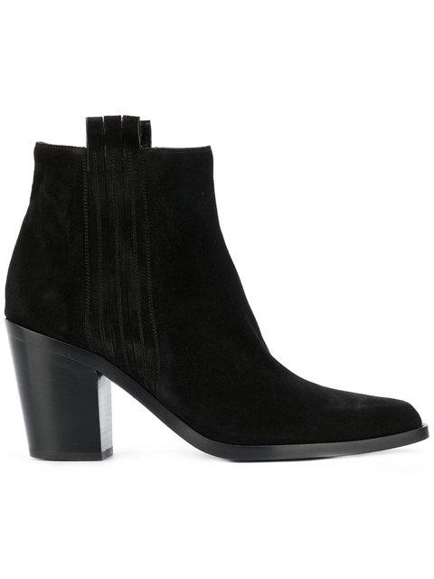 Sartore Mid Heel Ankle Boots In Black