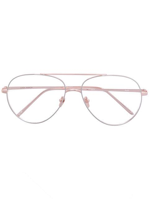 Linda Farrow Gallery Aviator Glasses - Metallic