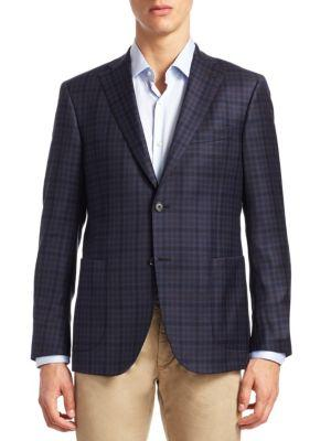 Saks Fifth Avenue Collection Plaid Virgin Wool Sportcoat In Blue-brown