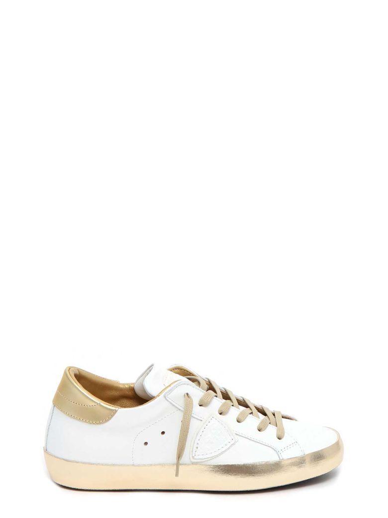 Philippe Model Metallic Detail Sneakers In Bianco-oro