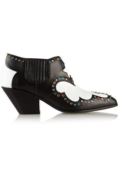 Giuseppe Zanotti Guns Embellished Leather Ankle Boots In Black