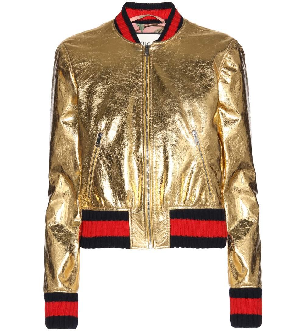 e7d767719 Gucci Metallic Leather Bomber Jacket | ModeSens