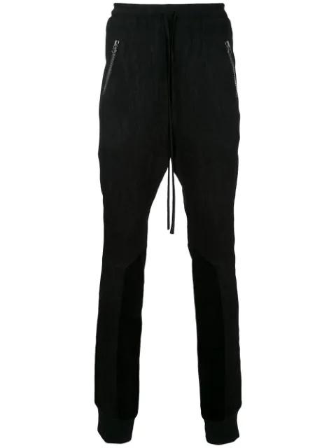 Ex Infinitas Plisse Contrast Texture Track Pants In Black