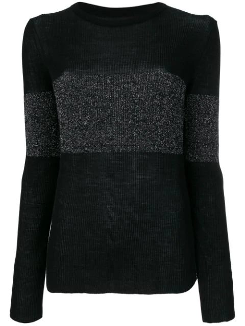 Cashmere In Love Cashmere Vivien Lurex Stripe Jumper In Black