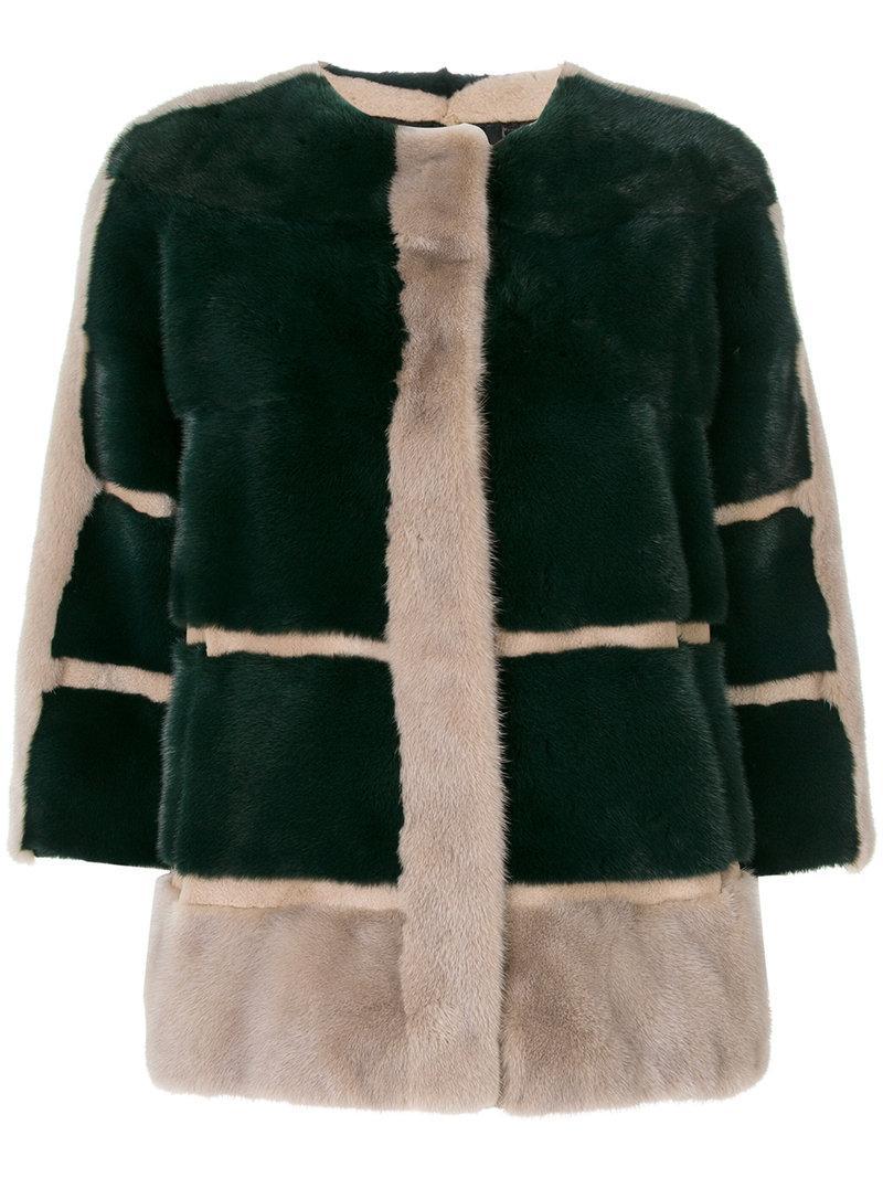 5467f47f5c53 Cara Mila Tina Panelled Mink Jacket - Green | ModeSens