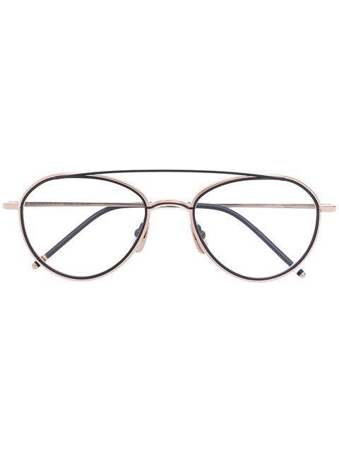 Thom Browne Eyewear Round Frame Glasses - Metallic