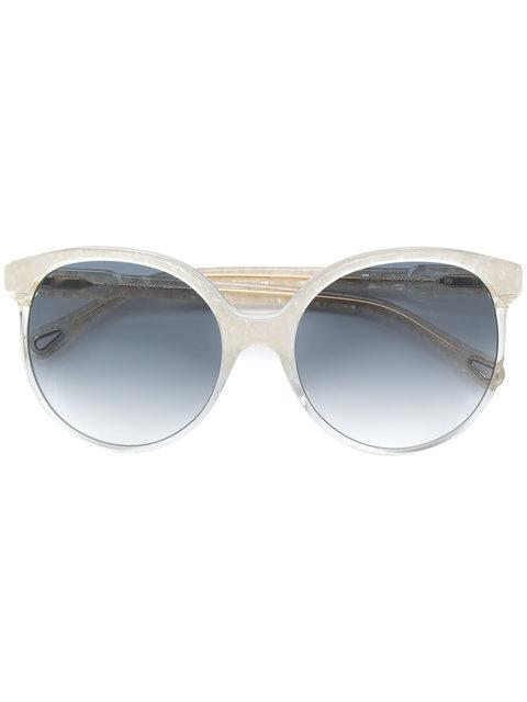 ChloÉ Marbled Effect Round-frame Sunglasses In White