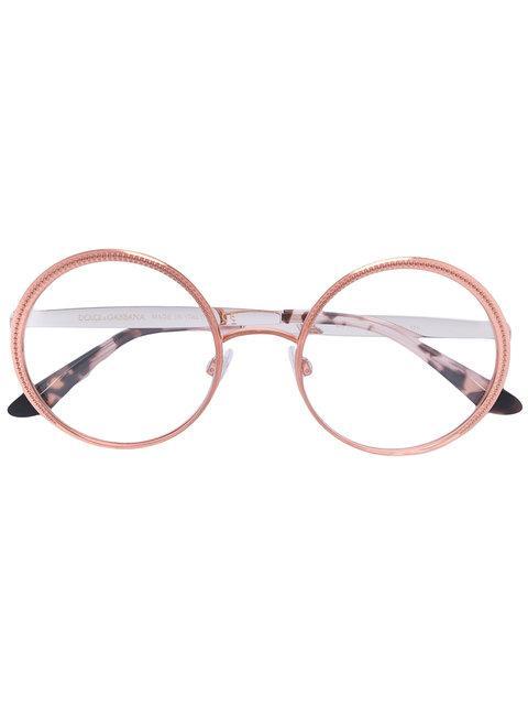 Dolce & Gabbana Round Glasses In Metallic