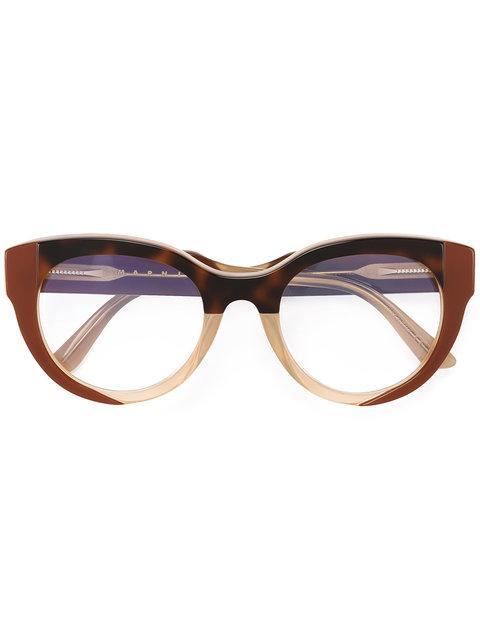 Marni Eyewear Tortoise Shell Detail Glasses In Neutrals