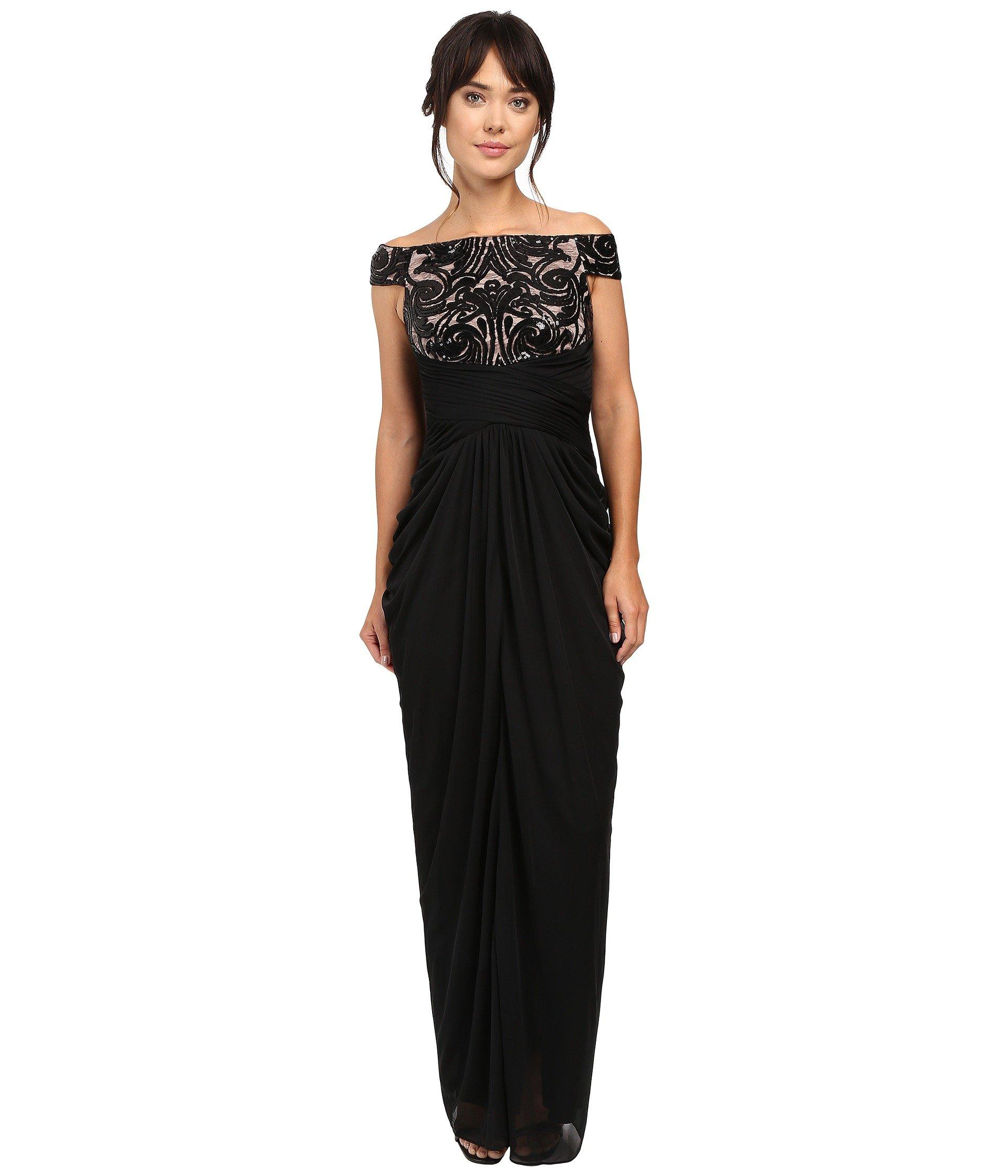 d1c92498f6 Adrianna Papell Off Shoulder Sequin And Stretch Tulle Gown
