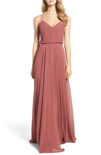 a5d2f4065a5b Jenny Yoo Inesse Chiffon V-Neck Spaghetti Strap Gown In Cinnamon Rose