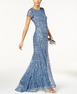 Adrianna Papell Short Sleeve Sequin Mesh Gown In Nile
