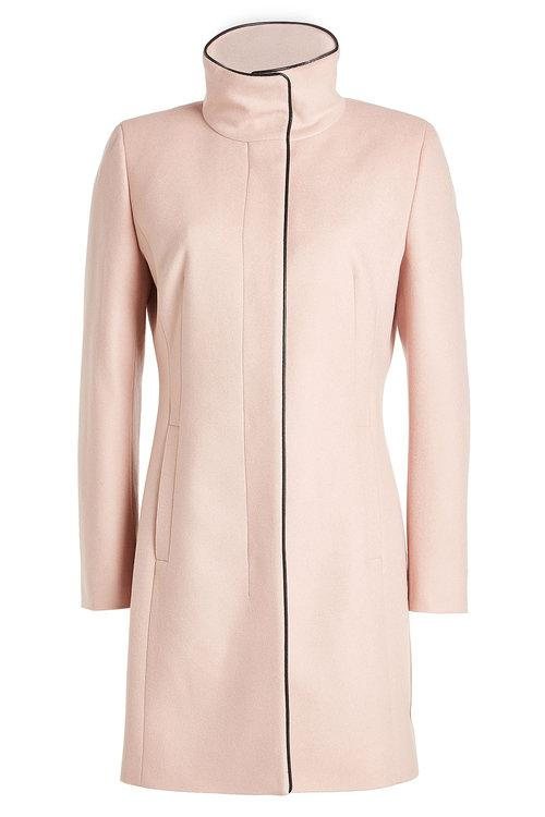 Hugo Virgin Wool Coat With Cashmere In Mauve