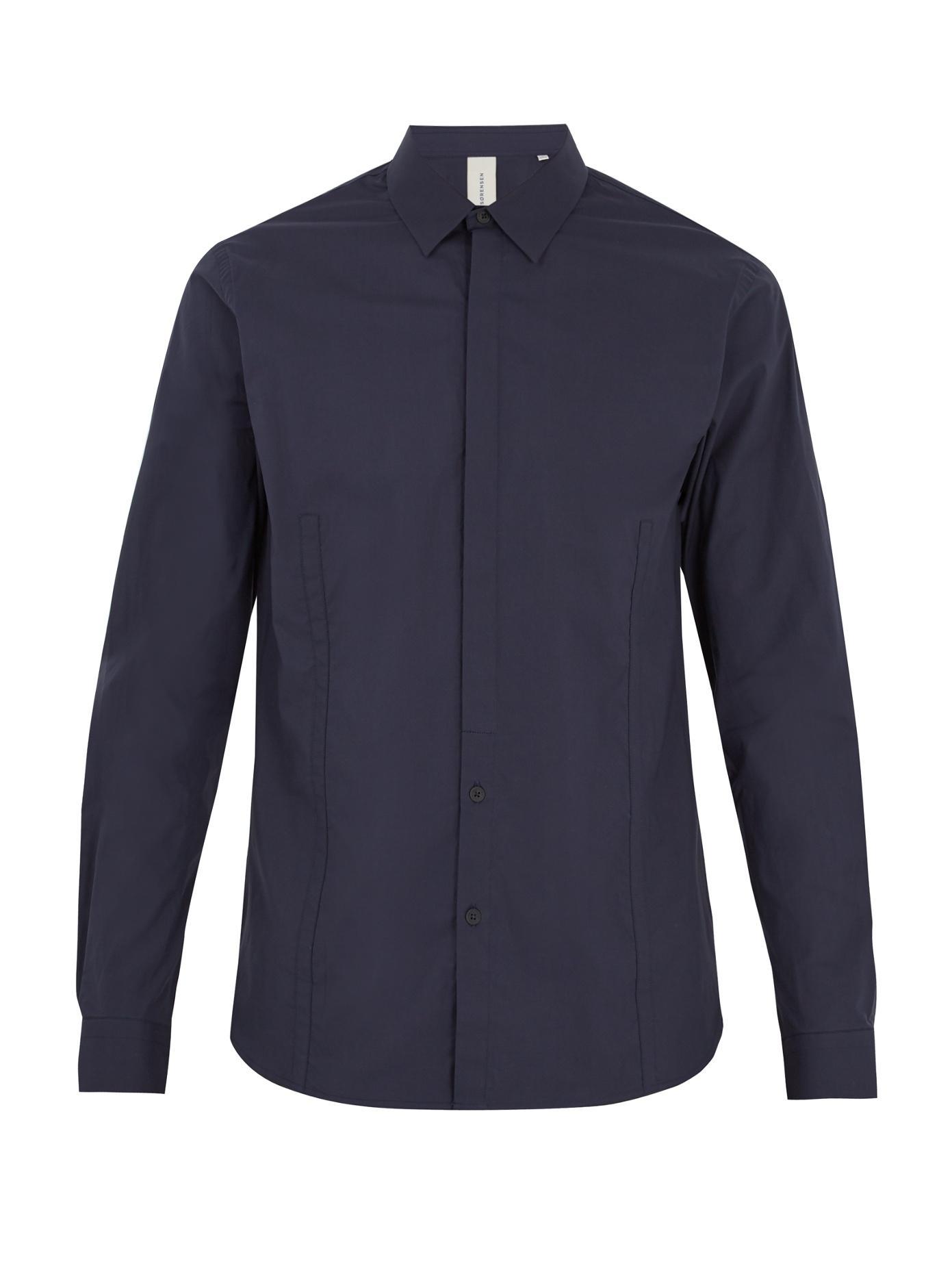 S0rensen Driver Point-collar Cotton-blend Shirt In Navy