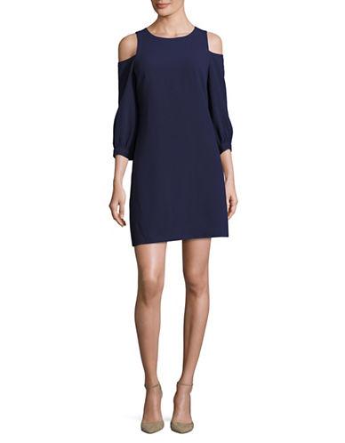 Eliza J Cold-shoulder Shift Dress-blue