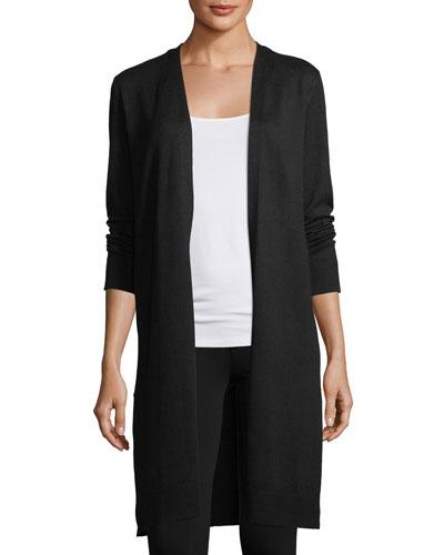 Love Scarlett Laced Back Duster Cardigan In Black