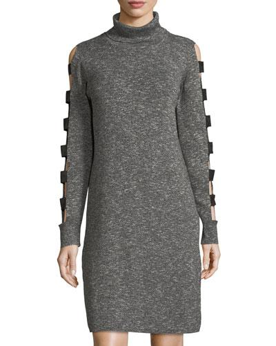 Love Scarlett Ladder Cutout Sleeve Sweater Dress In Charcoal