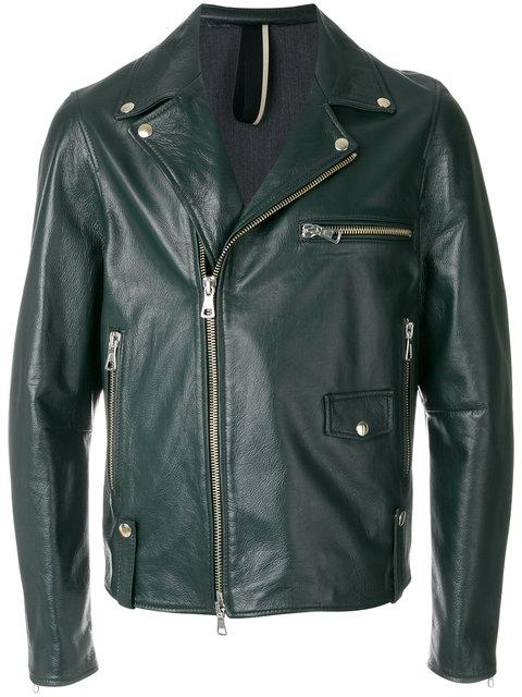Low Brand Pin Green Leather Jacket