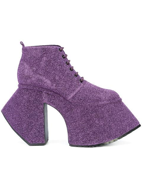 Robert Wun Lace-up Platform Ankle Boots - Purple In Pink & Purple