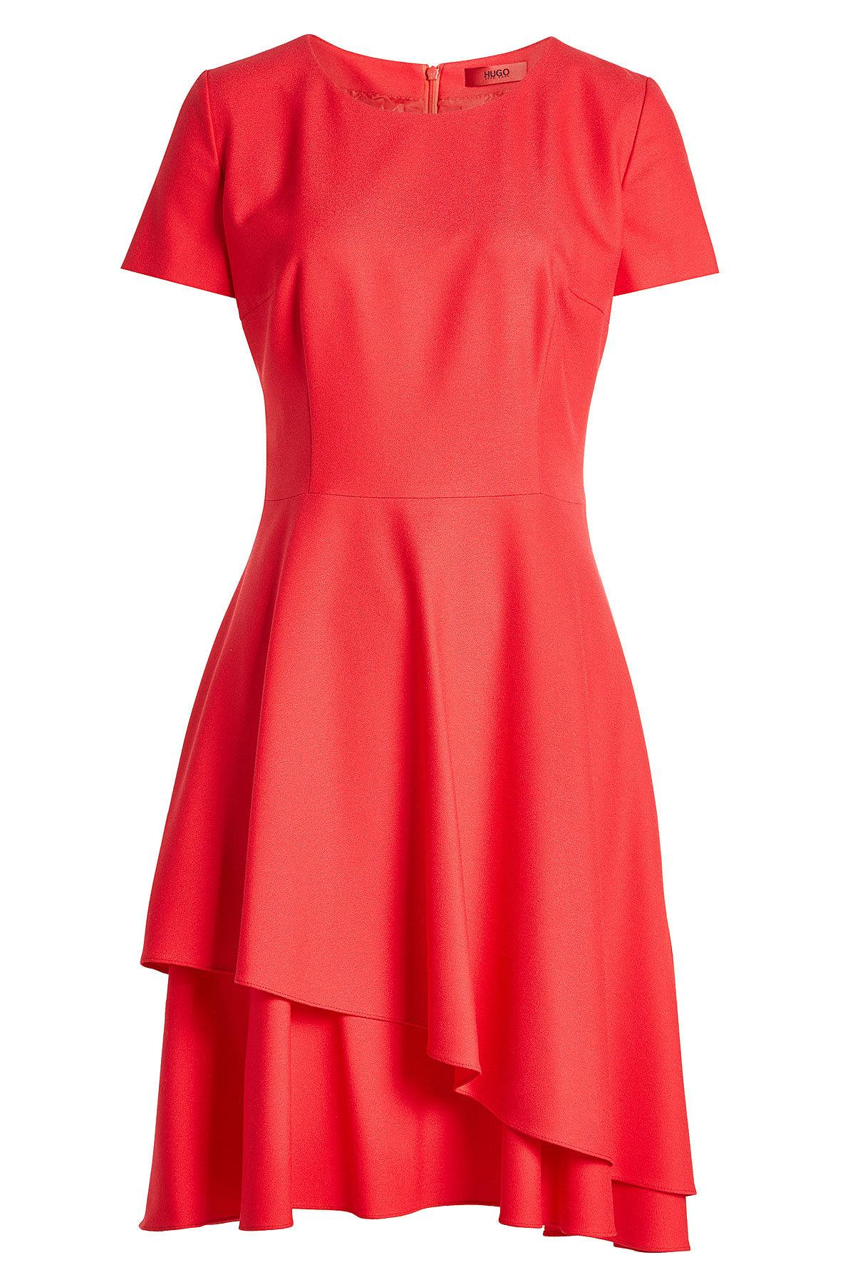 Hugo Dress With Ruffled Skirt In Red