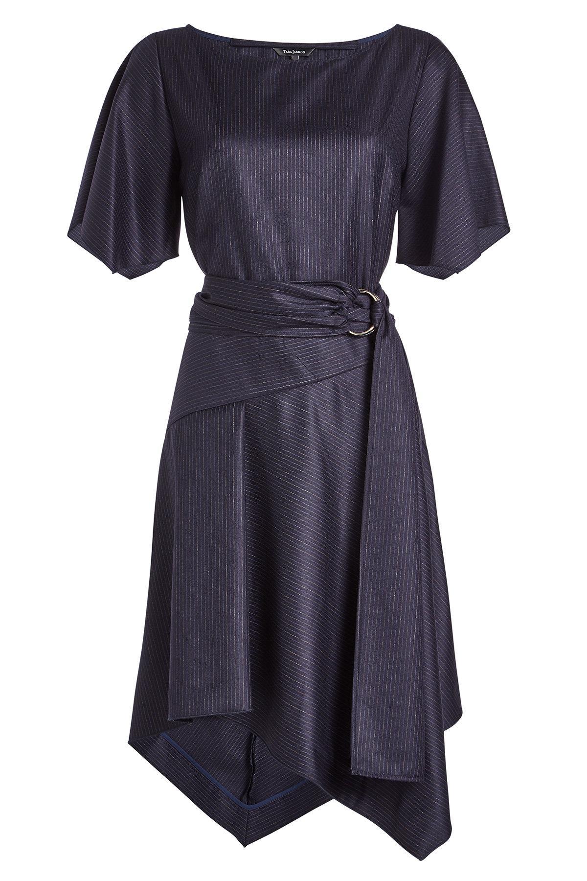 Tara Jarmon Asymmetric Virgin Wool Dress In Blue