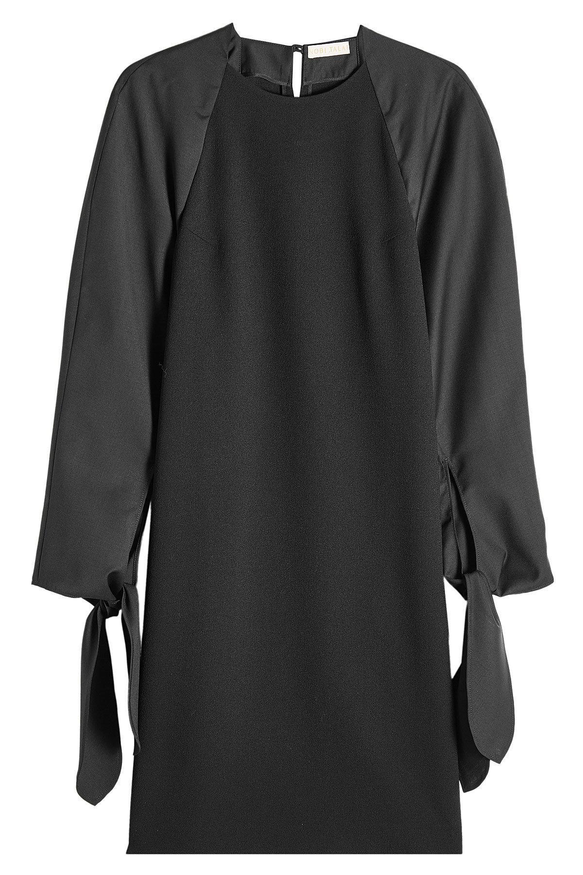 Nobi Talai Virgin Wool Dress With Bows In Black