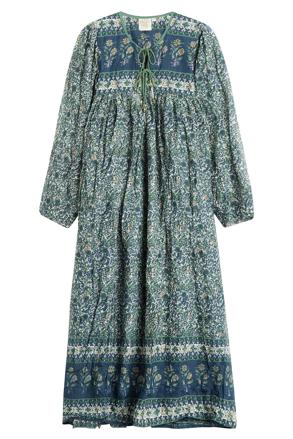 Blue Hippy Printed Cotton Dress In Florals