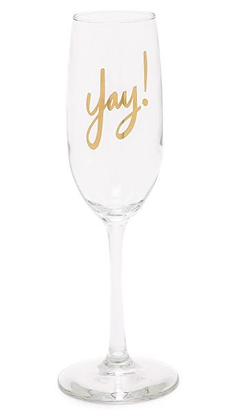 Gift Boutique Yay! Flute Glass In Clear/gold