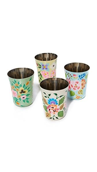 Gift Boutique Hand Painted Set Of 4 Tumblers In Multi