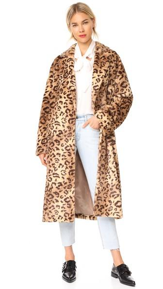 Leha Leopard Faux Fur Coat In Brown