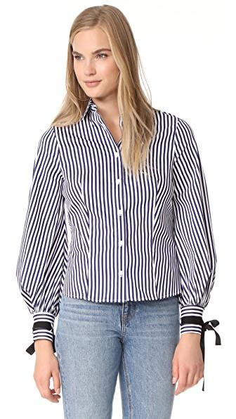Mds Stripes Beautiful Blouse In Navy/white Stripe