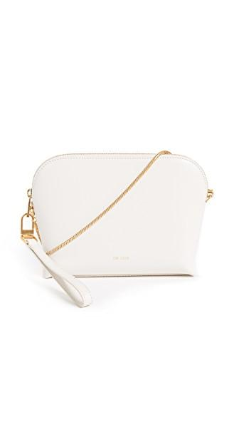 Sarah White Convertible Top Zip Shoulder Bag In Bone