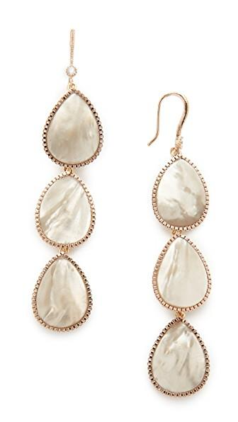 Theia Jewelry Three Tier Drop Earrings In Antique Gold/grey Mop