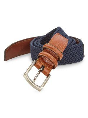 Saks Fifth Avenue Collection Stretch Leather Belt In Navy