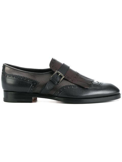 Santoni Fringed Monk Strap Loafers