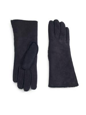 Saks Fifth Avenue Suede Shearling-lined Gloves In Black