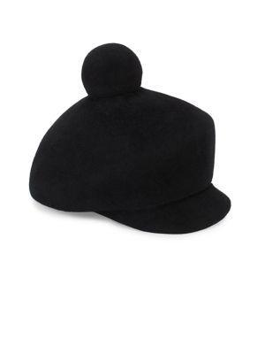 Lola Hats Toy Solider Fur Pom Cap In Black