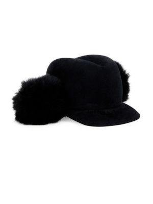 4fc0567e Lola Hats Door Knob Fur Pom & Velour Felt Cap In Black | ModeSens
