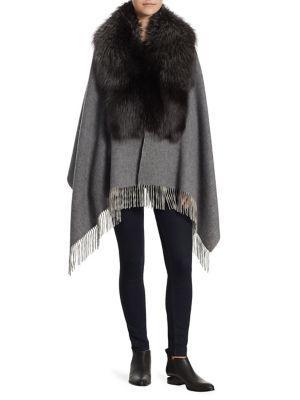 The Fur Salon Wool & Fox Fur Stole In Grey