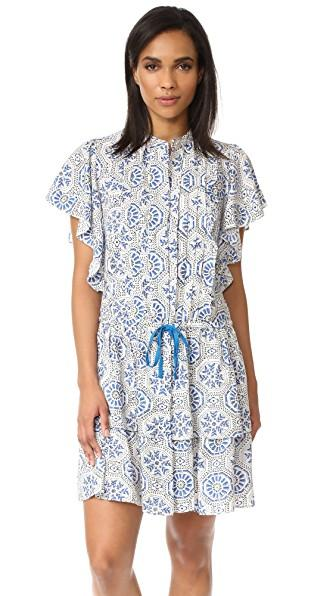 Banjanan Lottie Dress In Moorish Tile Cobalt