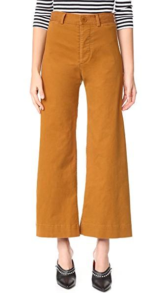 Emerson Thorpe Ryan High Waisted Wide Leg Pants In Tobacco
