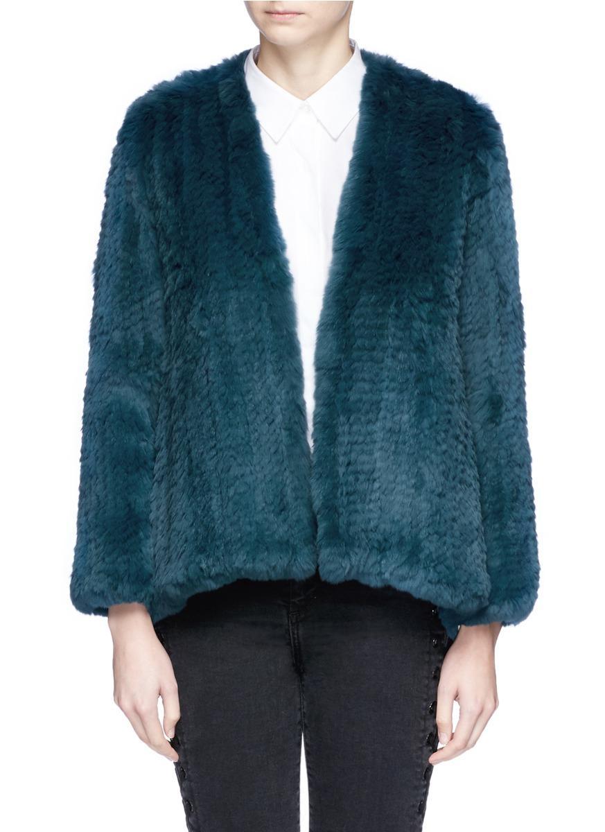 H Brand 'emily' Rabbit Fur Jacket