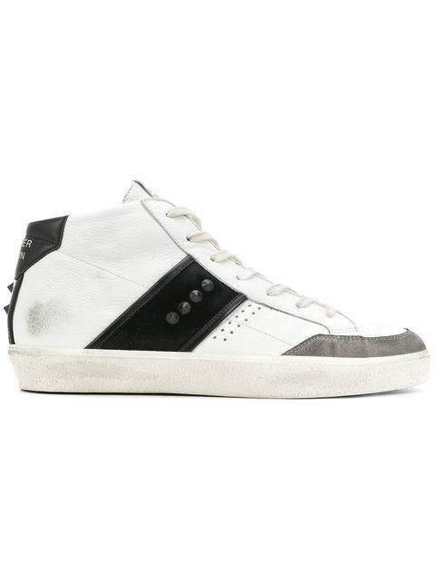Leather Crown Casual Hi-top Sneakers