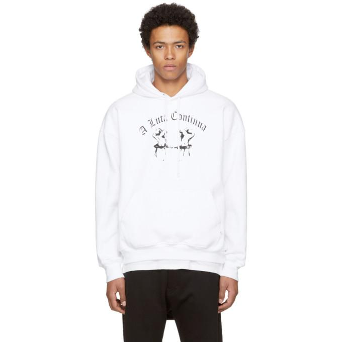 Richardson White Chained Hands Hoodie In White Black