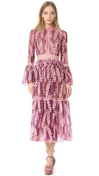 Costarellos Tulle Lace Dress With Bell Sleeves In Mulberry