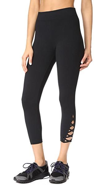 Yummie Skimmer Lace-up Leggings In Black