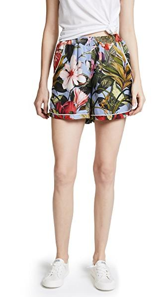 Ella Moon Piped Shorts In Tropical Flower Print